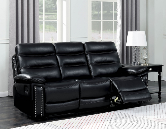 Artemis Contemporary Black Faux Leather Reclining Sofa With Center Console