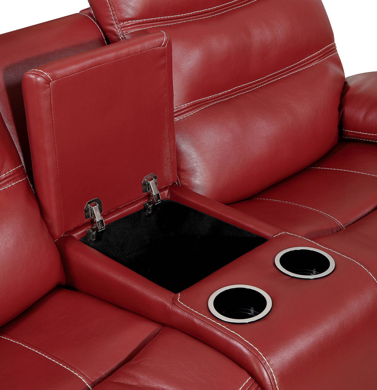 Artemis Contemporary Red Faux Leather Reclining Loveseat