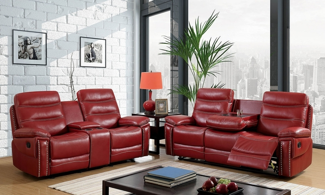 Artemis Contemporary Red Faux Leather Reclining Sofa Set ...
