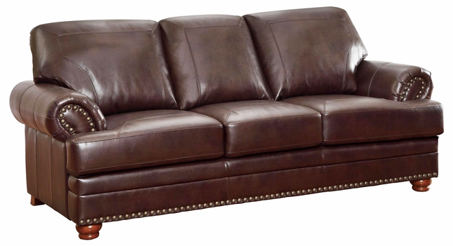 Antique Brown Bonded Leather Sofa Rolled Arms Nailhead Trim