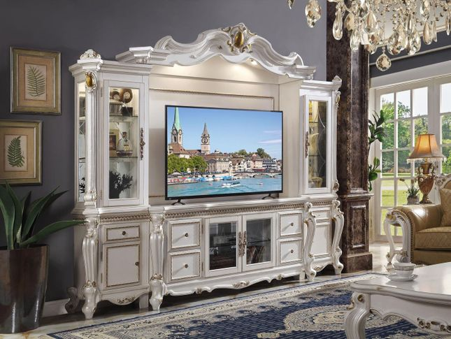 Classic Traditional Antique Pearl White & Gold TV Entertainment Center Wall Unit