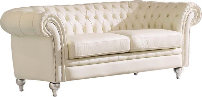 Atticus Transitional Button Tufted Chesterfield Sofa in Ivory Genuine Leather