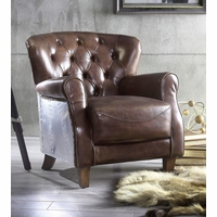 Aviation Button Tufted Vintage Brown Leather Armchair Riveted Aluminum