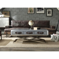 Aviator Coffee Table Riveted Aluminum 3 Drawers Vintage Leather Strap Handles