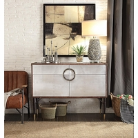 Aviator Console Table 2 Door 2 Drawer Accent Cabinet Riveted Aluminum Vintage