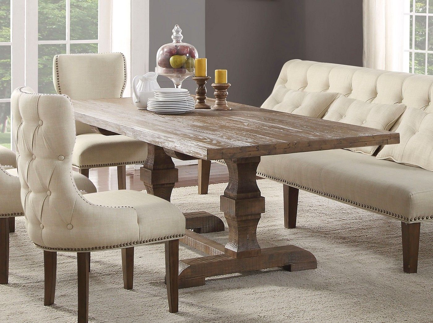 Aviemore Rustic 5 Pc 96 Quot Dining Table Set In Reclaimed Oak