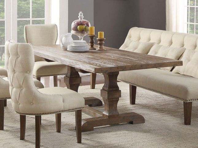 """Aviemore Rustic 96"""" Double Pedestal Dining Table in Reclaimed Oak Finish"""