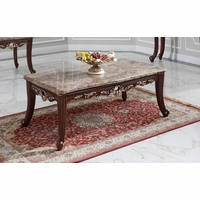 Azalea Marble Top Traditional Coffee Table In Dark Cherry With Gold Accents