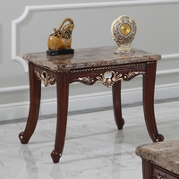 Azalea Marble Top Traditional End Table Dark Cherry w/ Gold Accents