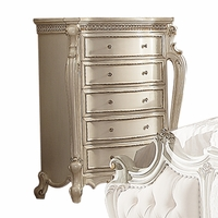 Picardy Traditional Ornate Carved 5-Drawer Chest Antique Pearl Finish