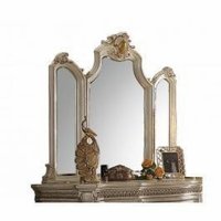 Traditional Victorian Trifold Accent Mirror w/Scrolled Frame in Antique Pearl