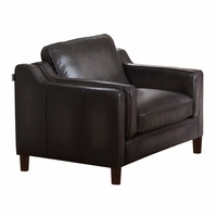 Ballari Dark Grey Armchair In Hand Rubbed Top Grain Leather