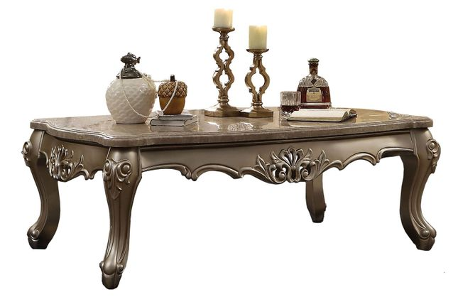 Balmoral Traditional Victorian Marble Top Coffee Table Carved Wood