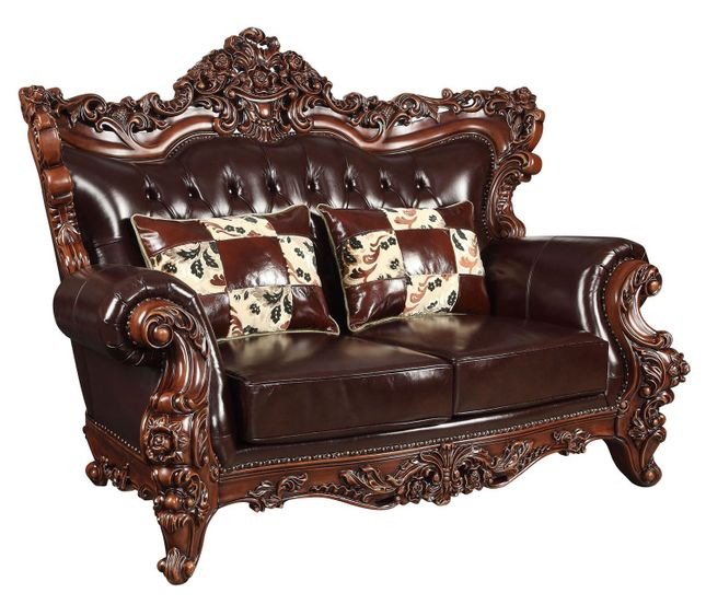 Surprising Barcelona Dark Brown Tufted Leather Loveseat With Carved Ncnpc Chair Design For Home Ncnpcorg