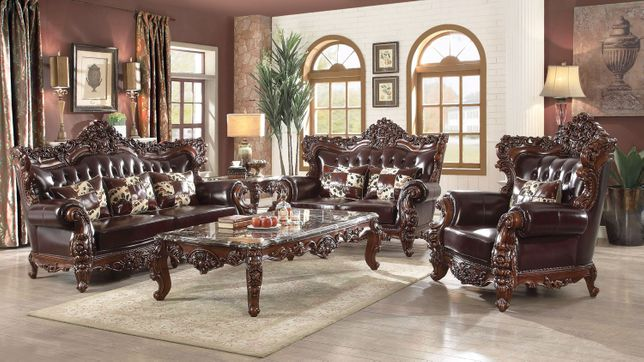 Barcelona Dark Brown Tufted Genuine Leather Sofa Loveseat Set Carved Wood Frame