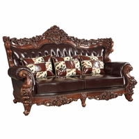 Barcelona Traditional Luxury Dark Brown Tufted Genuine Leather Sofa Carved Frame