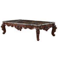 Barcelona Dark Cherry Brown Traditional Coffee Table Genuine Marble Top