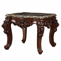 Barcelona Dark Cherry Brown Traditional End Table Genuine Marble Top