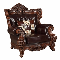 Barcelona Traditional Dark Brown Tufted Leather Chair Carved Wood Frame