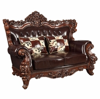 Barcelona Traditional Dark Brown Tufted Leather Loveseat Carved Wood Frame