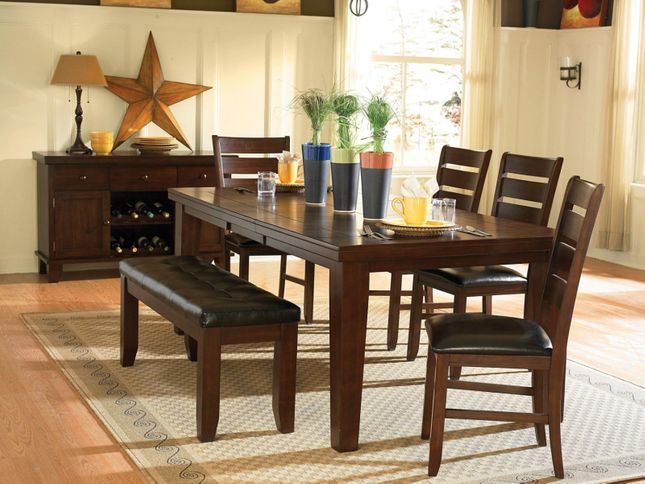 Ameillia 5pc Casual Dining Room Set with Table and 4 Chairs, Dark Oak Finish