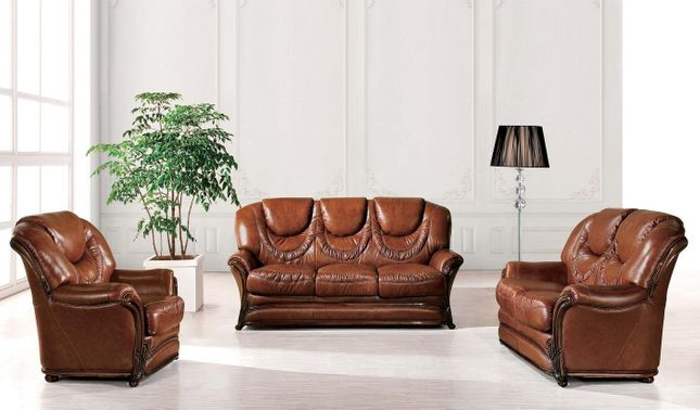Barletta Traditional Brown Genuine Italian Leather Sleeper Sofa Set ...
