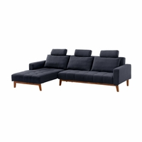 Belinda Contemporary Blue Fabric Sleeper Sectional Sofa w/Tapered Wooden Legs