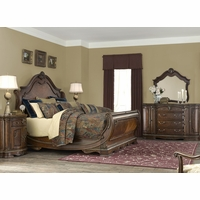 Bella Veneto Traditional 4pc King Sleigh Bedroom Set in Cognac Finish