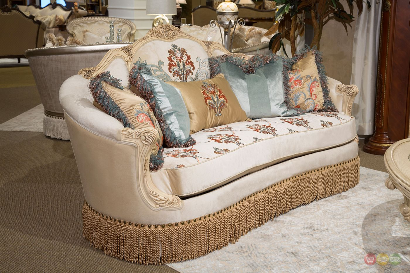 Belle Fleur Champagne Embroidered Sofa Amp Loveseat With