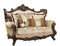 Belmont Old World Winged Back Jacquard Loveseat Carved Wood Frame