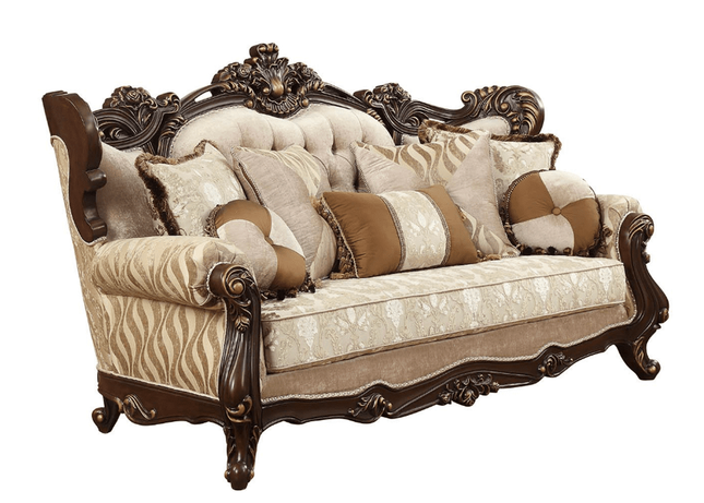 Winged Back Sofa With Carved Wood Frame