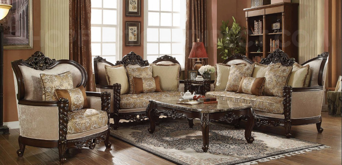 Victorian Antique Style Luxury Living Room Furniture Sofa Set