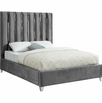 Berwyn Modern Grey Velvet Queen Platform Bed with Tall Chrome Channel Headboard