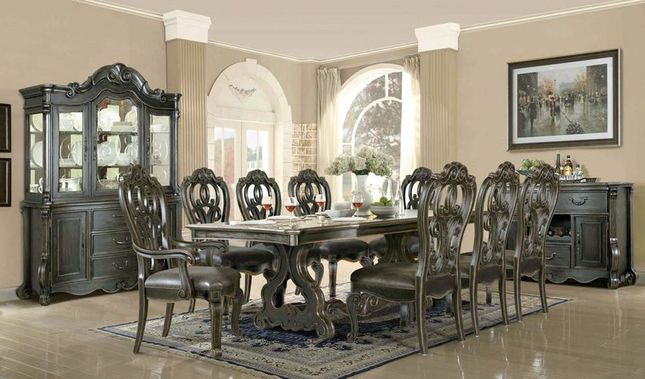 Traditional Dark Wood Formal Dining Room Furniture Table & Chairs Set