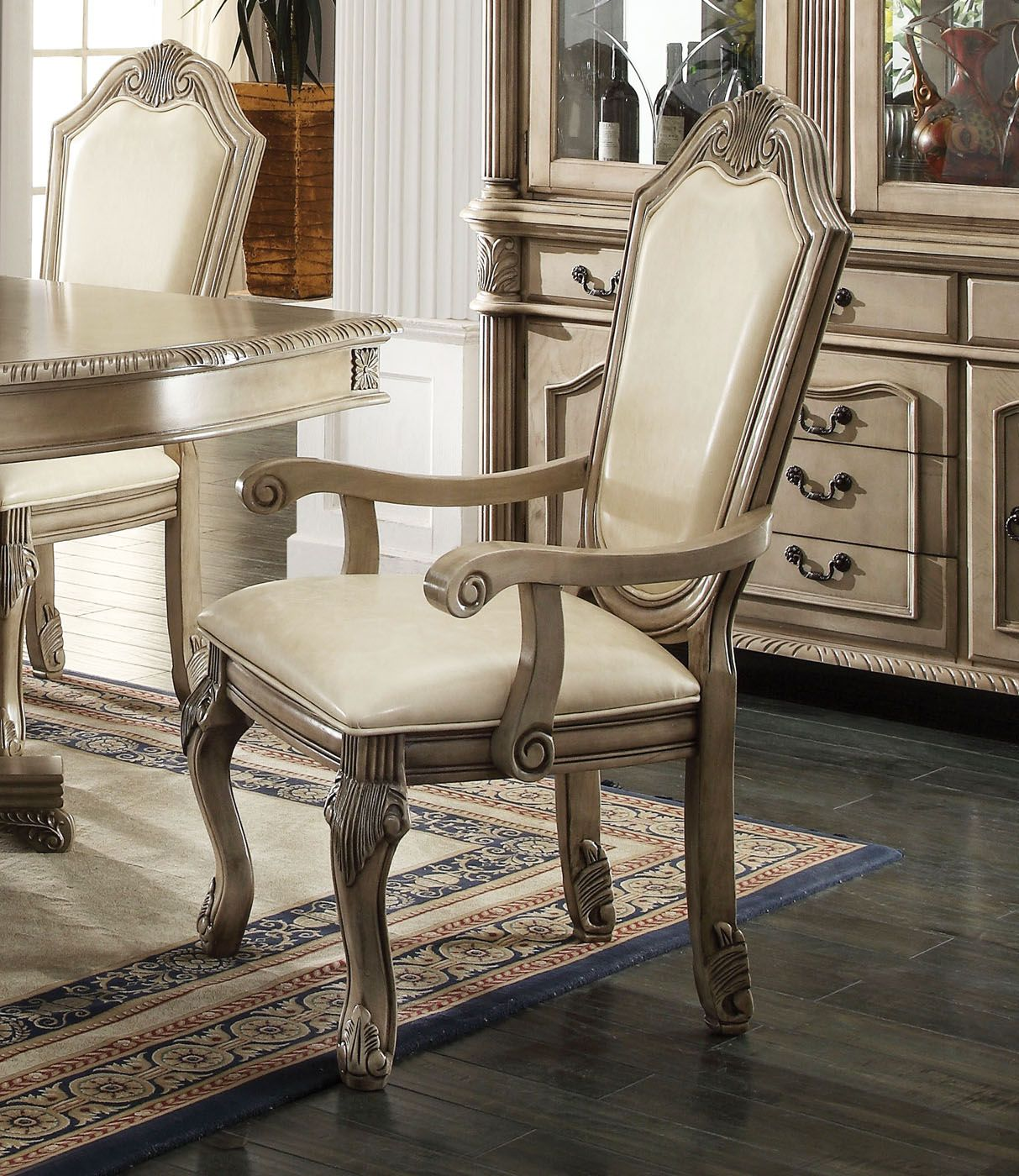 Chateau III Antique Ivory Traditional Light Wood Formal ...