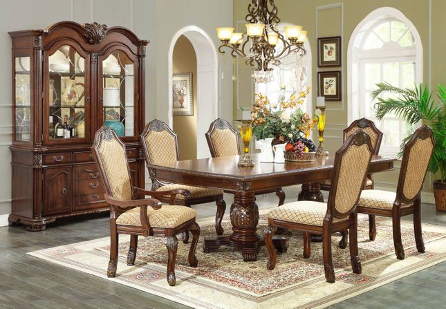 Chateau IV Traditional Formal Dining Set Fabric Upholstered Chairs