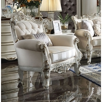 Blake Luxurious Pearl White Traditional Wing Chair Carved Wood