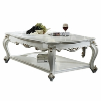 Blake Traditional Antique Pearl White Coffee Table Queen Anne Legs Gold Accents