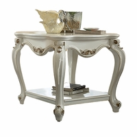 Blake Traditional Antique Pearl White End Table With Gold Accents