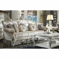 Blake Traditional Sofa Cream Fabric Antique Pearl White Gold Accents