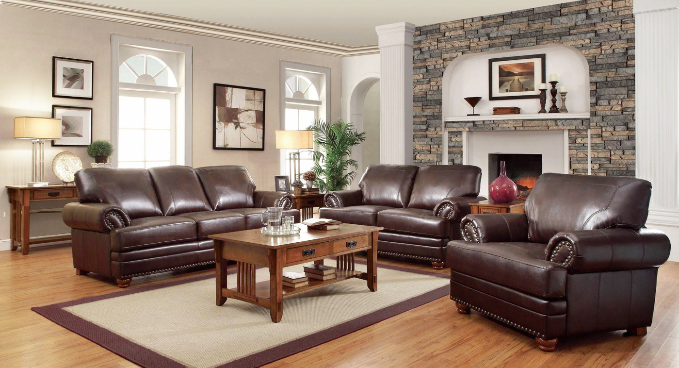 Antique Leather Sofa Traditional Living Room Furniture Set