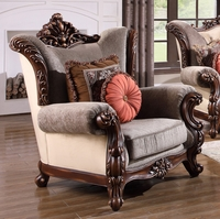 Bordeaux Luxury Traditional Carved Wood Beige Tufted Wing Back Arm Chair
