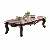 Bordeaux Marble Top Traditional Coffee Table w/ Cabriole Legs Cherry Finish