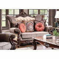 Bordeaux Traditional Loveseat Carved Wood Beige Tufted Wingback Design