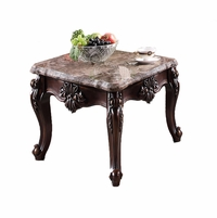 Bordeaux Traditional Marble Top Cherry End Table With Cabriole Legs