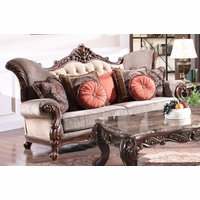 Bordeaux Traditional Victorian Sofa Carved Wood Frame Beige Button-Tufted