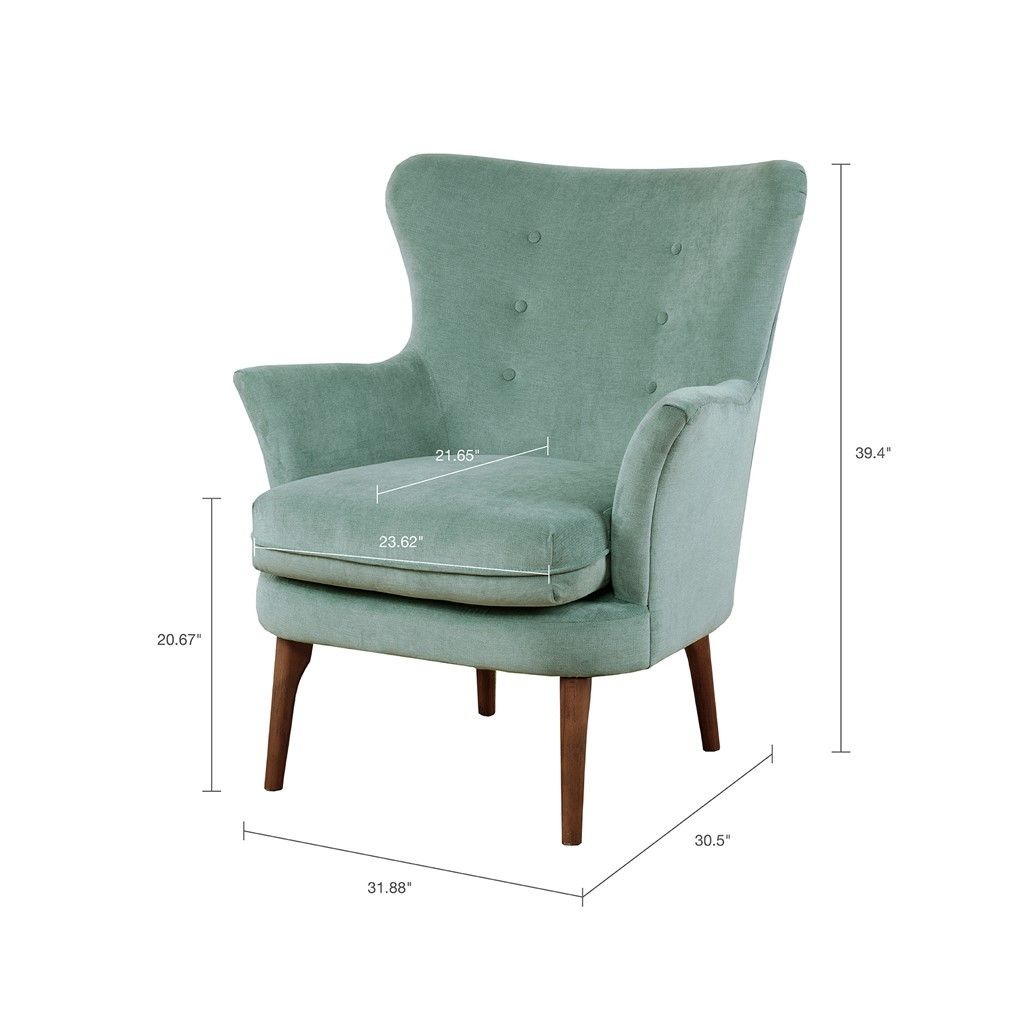 Oversized Accent Chair Green Transitional: Brady Accent Chair Solid Wood,Birch,Metal, Pecan Green