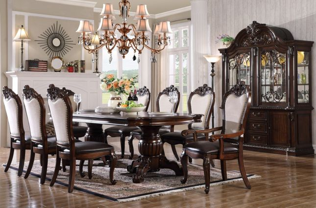Brentwood Traditional 5pc Double Pedestal Dining Table Set in Brown Finish