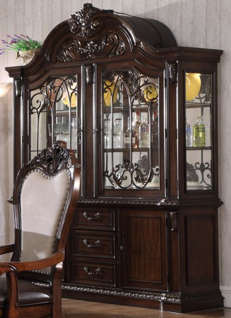Brentwood Traditional China Cabinet W Wood Applique Glass Doors Mirror Back