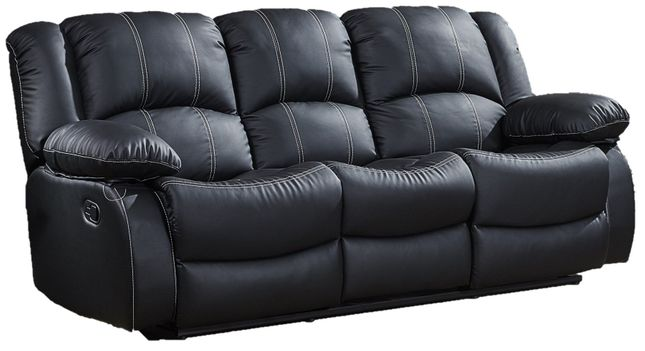 Bromham Black Faux Leather Dual Reclining Sofa With Center Storage
